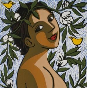 Birds in the Bean Flowers by Anita Klein