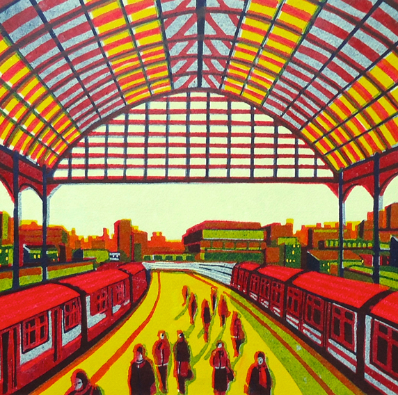 Every Moment so Fleeting linocut by Gail Brodholt