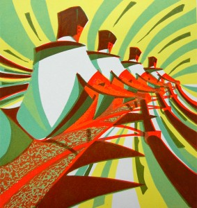The Four linocut by Paul Cleden