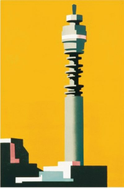 Telecom Yellow Print by Paul Catherall