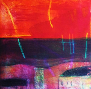Louise Davies, Northern Lights,Etching and Collagraph 33cmx33cm,  Unframed£250
