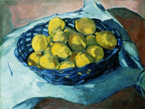 Lemons ina Blue Basket by Christopher Wood
