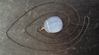 Claire van holthe chalcedony drop necklace