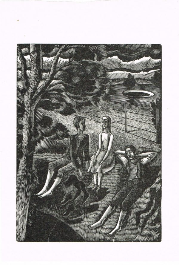 three figures and gate by eric ravilious