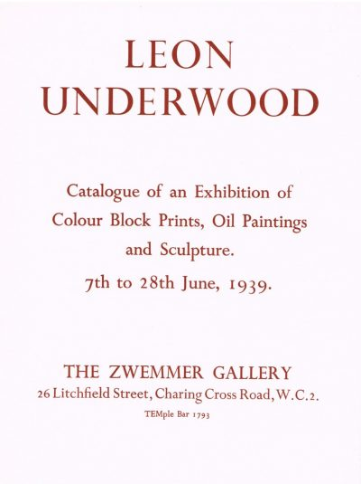 Leon Underwood Zwemmer Gallery