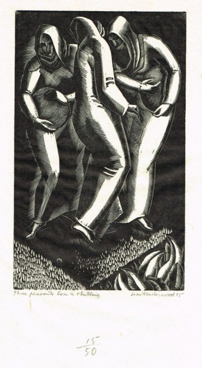 Leon Underwood Three peasants lost shilling
