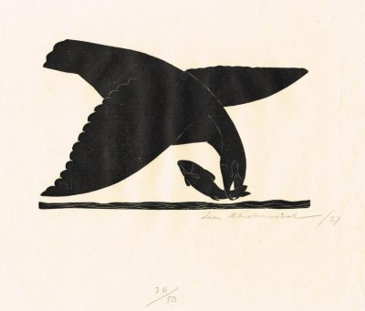 leon underwood bird & fish linocut