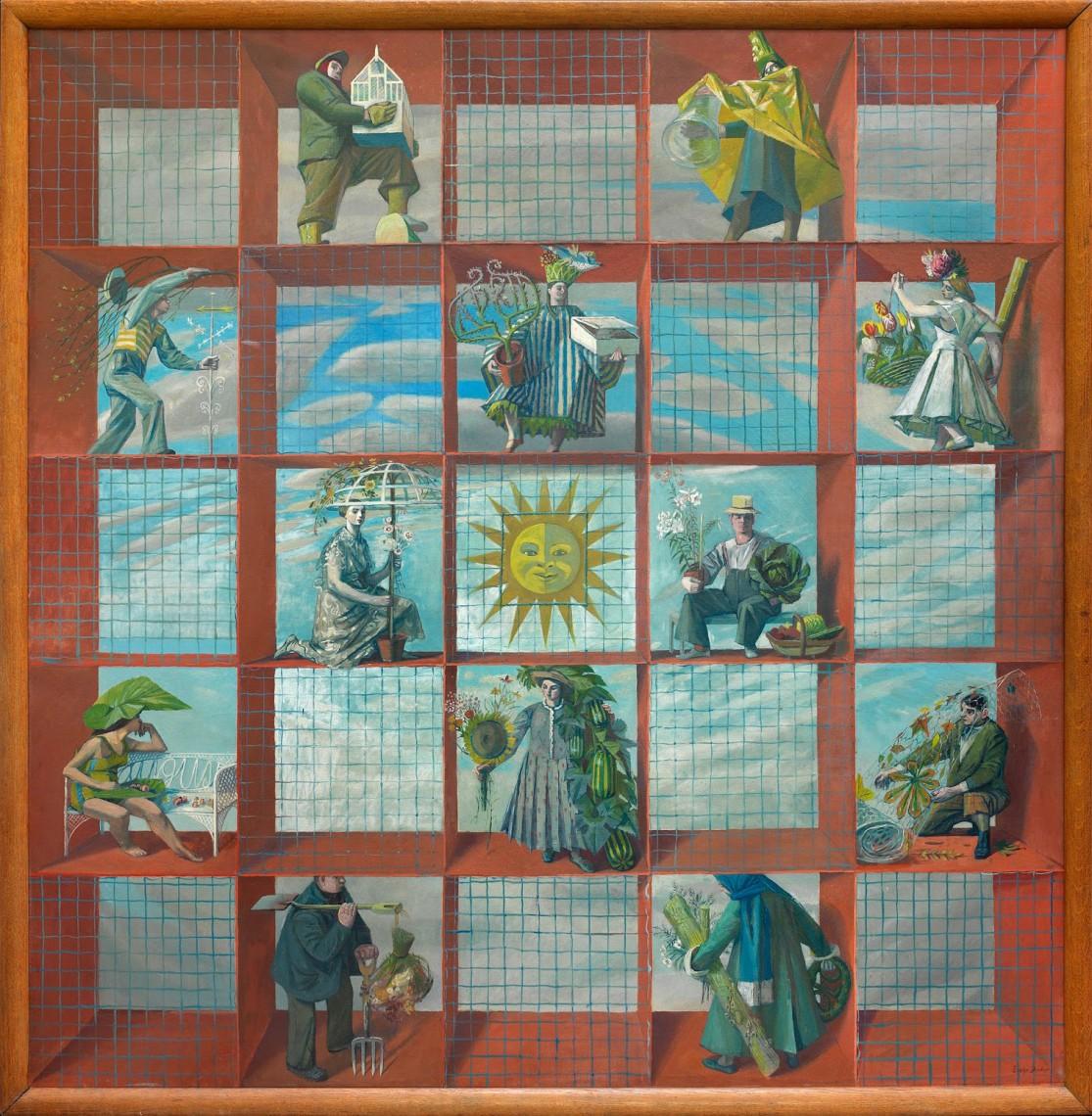 Evelyn Dunbar, An English Calendar, 1938, oil on canvas,The Artist's Estate, courtesy of Liss Llewellyn Fine Art