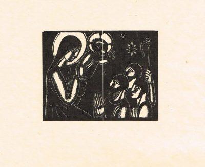 Nativity with Shepherds Engraving by David Jones