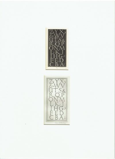 ZYX Alphabet Engravings by Edgar Holloway (Mounted)