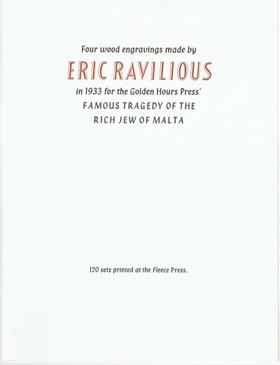Four Wood Engravings by Eric Ravilious: The Jew of Malta