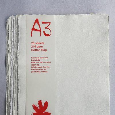 White A3 Khadi Paper Pack