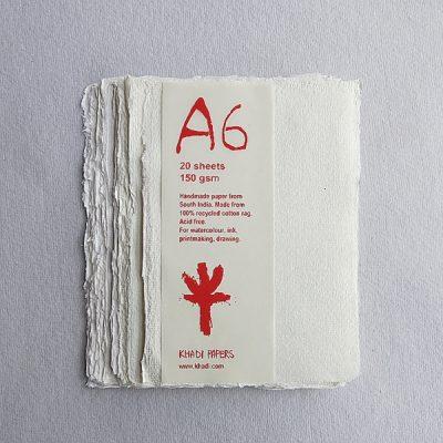White A6 Khadi Paper Pack