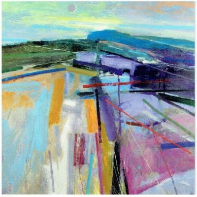 Downland Evening with New Moon Print by Peter Iden