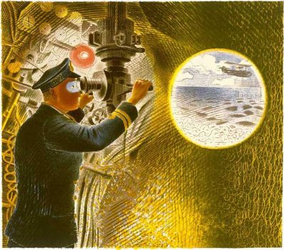Commander of a Submarine Looking Through a Periscope Print by Eric Ravilious