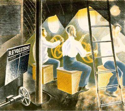 Men Operating Submarine Controls Print by Eric Ravilious