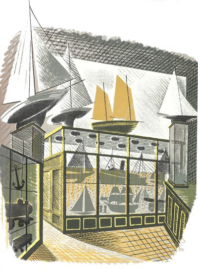 Model Ship and Railways Print by Eric Ravilious