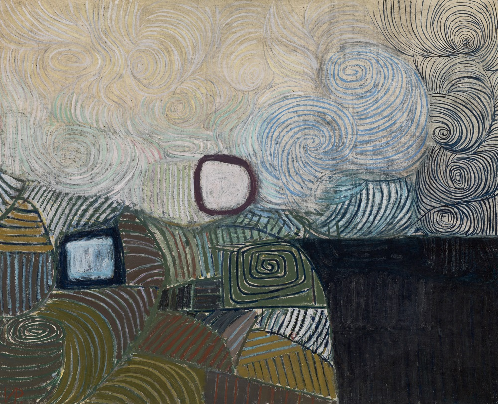 Victor Pasmore, Spiral Motif in Green, Violet, Blue and Gold: The Coast of the Inland Sea (detail), 1950, oil on canvas, Tate. Purchased 1953 © Tate