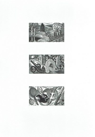 Three Vignettes From Thrice Welcome: Original Wood Engraving By Eric Ravilious