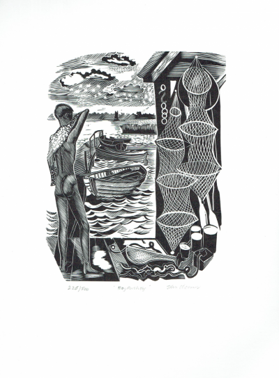 Boy Bathing. Original wood engraving by John O'Connor