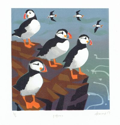 Puffins Print by Carry Akroyd