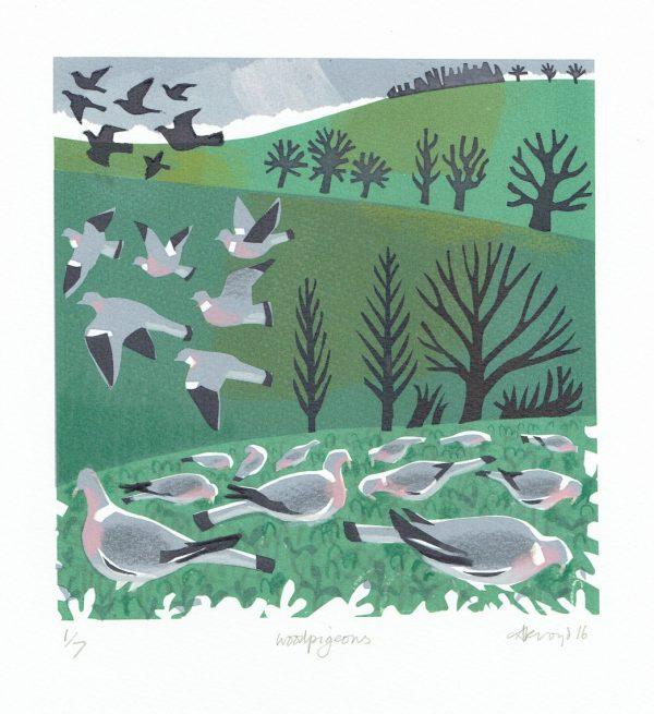 Wood Pigeons Print by Carry Akroyd