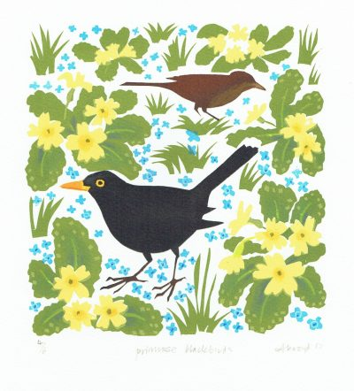 Primrose Blackbirds Print by Carry Akroyd