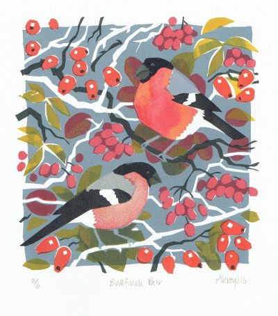 Bullfinch Pair Print by Carry Akroyd
