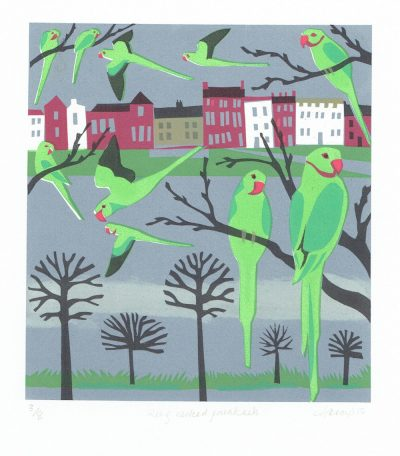 Ring Necked Parakeets Print by Carry Akroyd