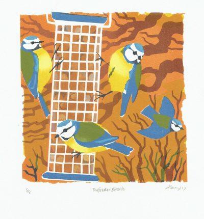 Birdfeeder Bluetits Prints by Carry Akroyd