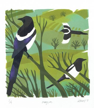 Magpies Print by Carry Akroyd