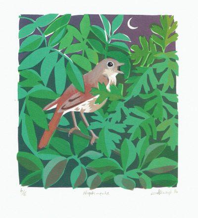Nightingale Print by Carry Akroyd