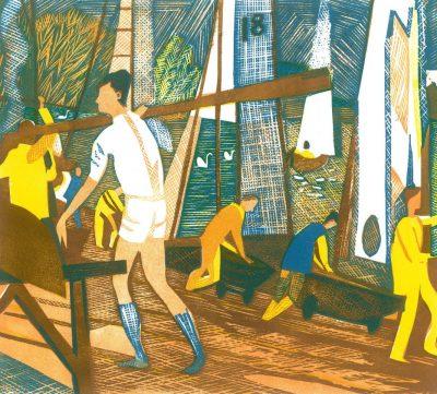 Putney Reach, Rowers Print