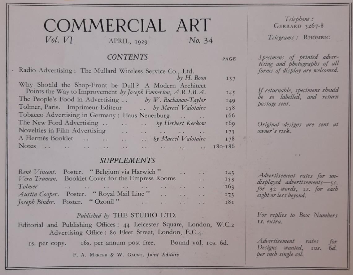 April 1929 Contents