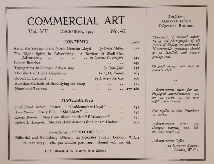 December 1929 Contents