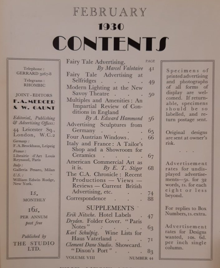 February 1930 Contents