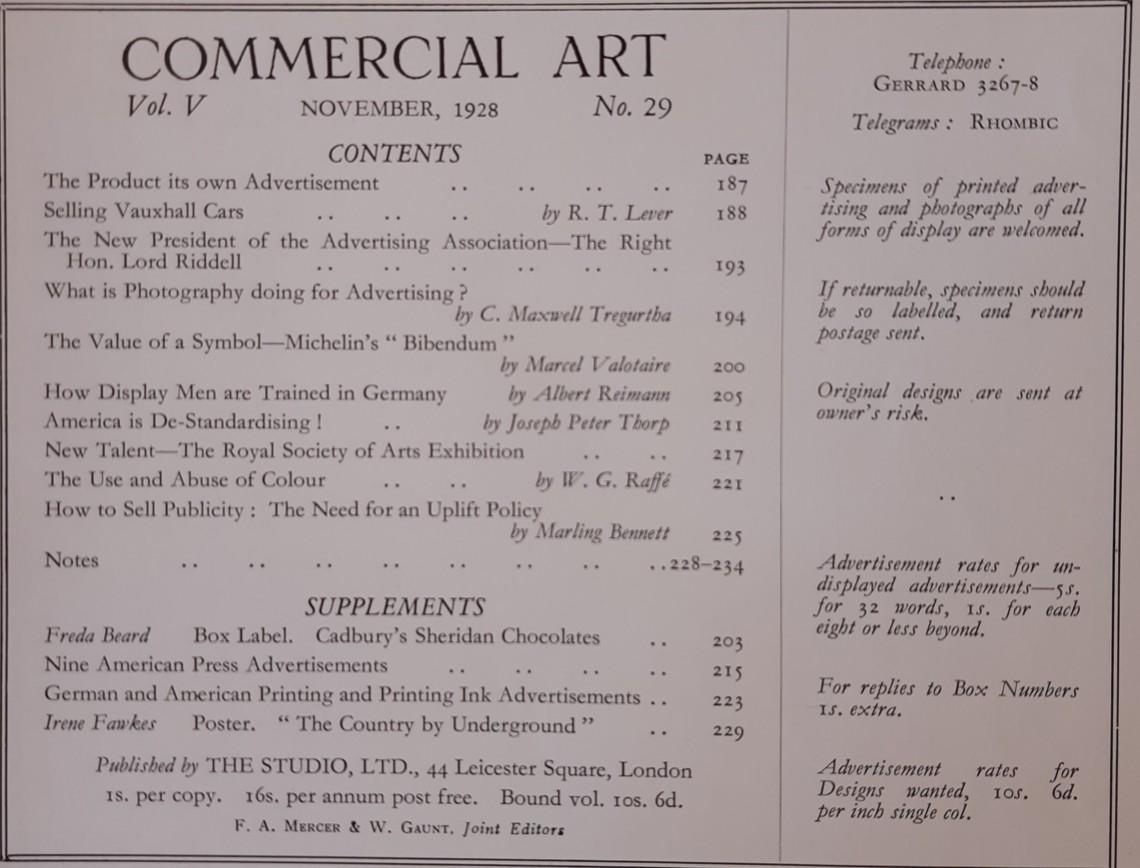 November 1928 Contents