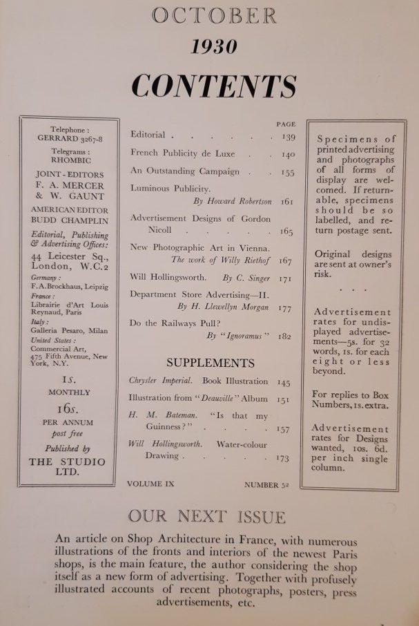 October 1930 Contents