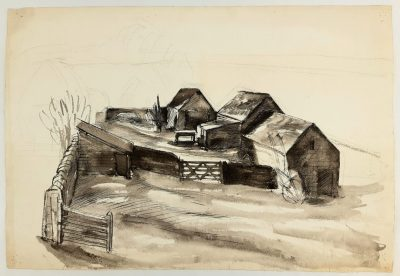 Barns Drawing by Barnett Freedman