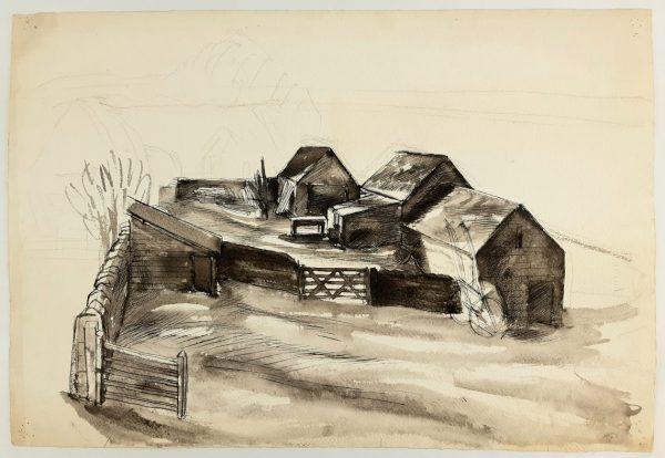 Barns Drawing by Barnett Freedman
