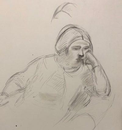 sitting woman by barnett freedman