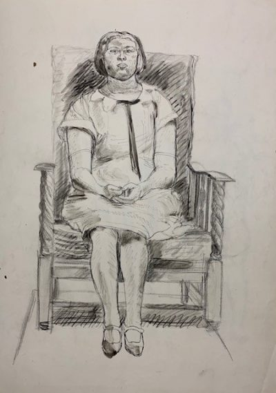seated woman drawing by barnett freedman