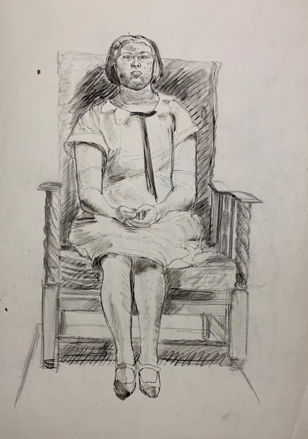 seated woman drawing by barnett freedman
