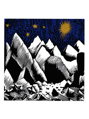 Rocky Landscape Christmas Card by Eric Ravilious