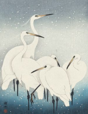 Herons in Snow Christmas Card by Ohara Koson (Pack of 5)