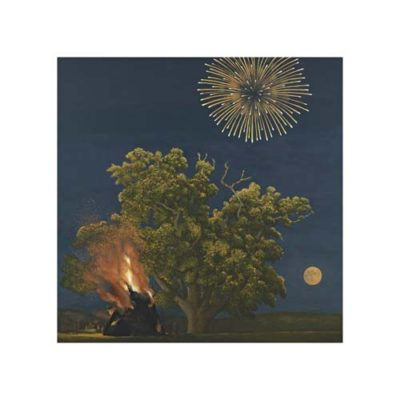 tree, moon and firework print by david inshaw